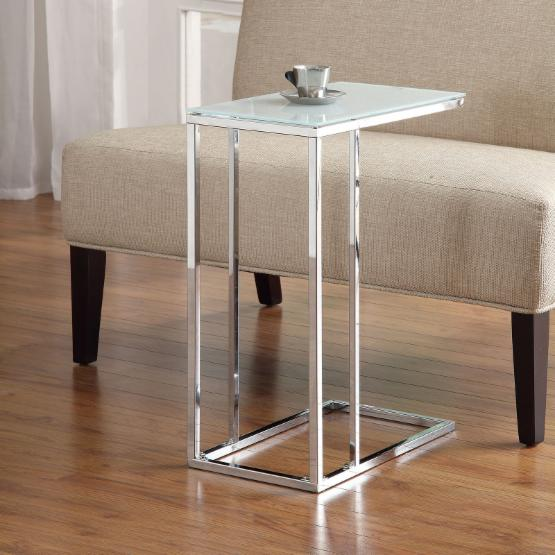 Coaster Furniture Chrome and Glass C End Table