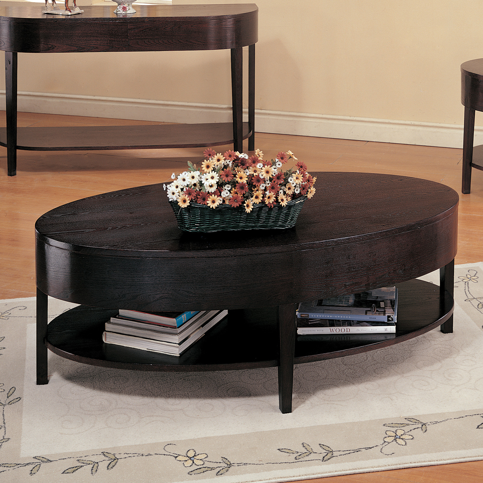 Steve Silver Troy Oval Cherry Wood Coffee Table