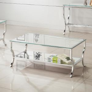 Coaster Furniture Rectangular Glass Top Coffee Table with Chrome Base