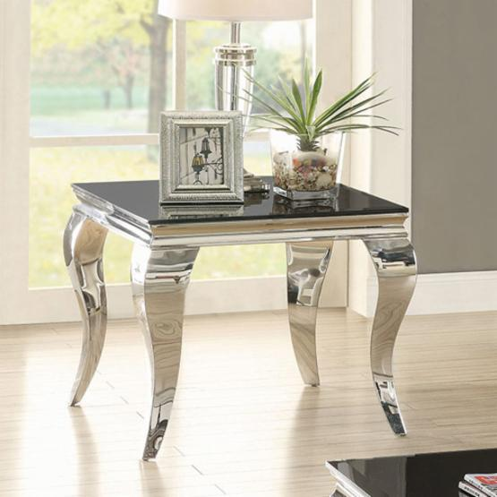 Coaster Furniture Dark Glass Top End Table - Chrome