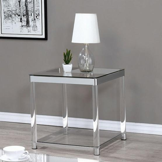 Coaster Furniture Square Glass Top End Table - Chrome