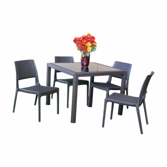 Compamia ISP992S Miami Wickerlook 5 Piece Square Dining Set with Side Chairs
