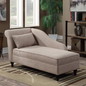 Convenience Concepts Designs4Comfort Cleo Chaise Lounge Ottoman with Storage
