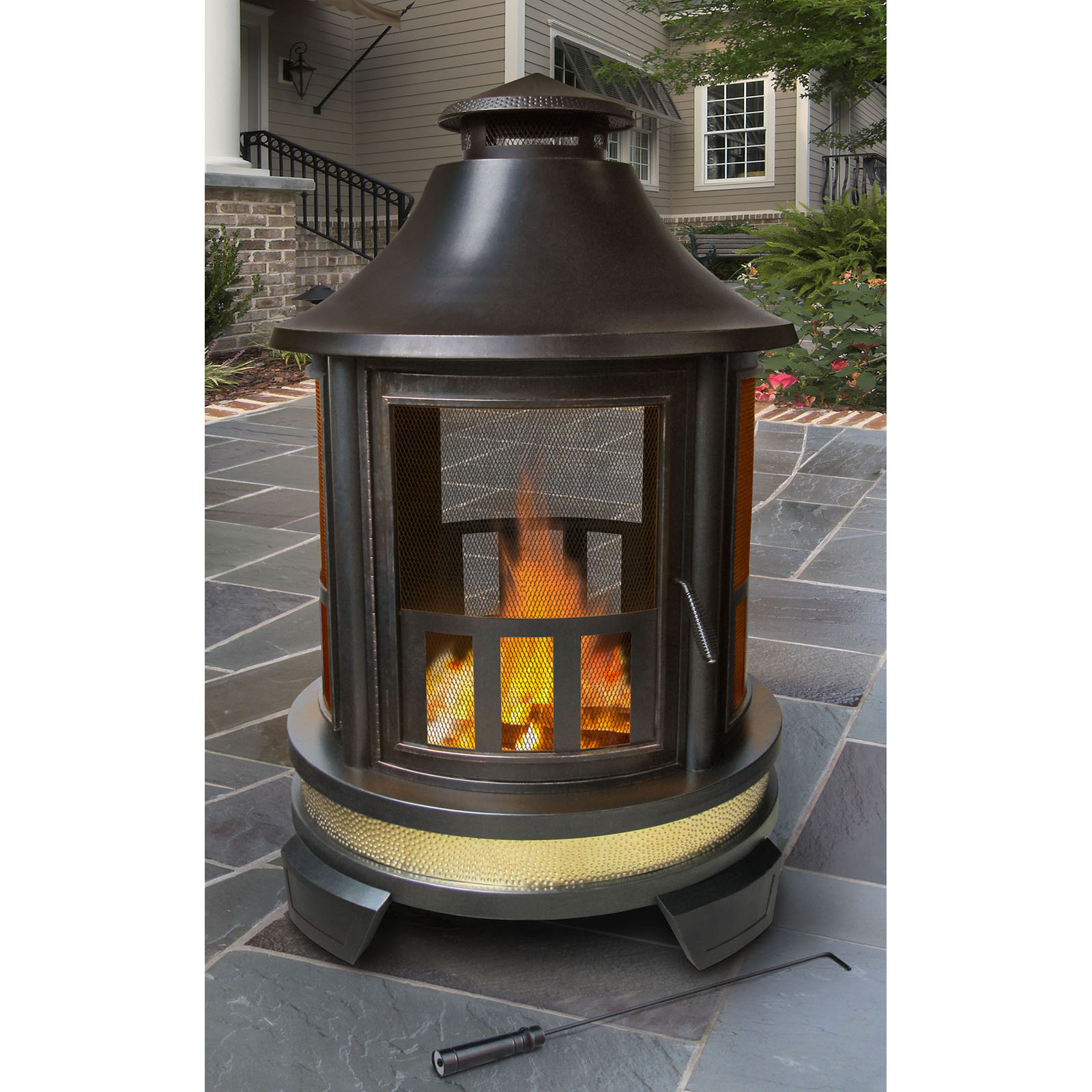 uniflame black stainless steel outdoor firehouse with free cover