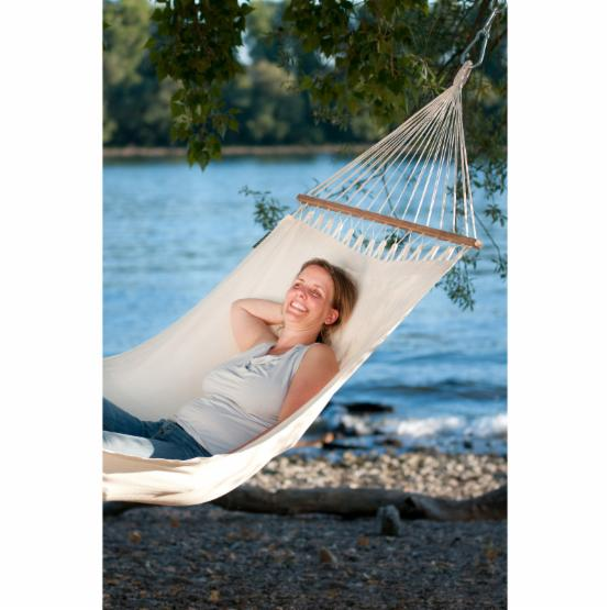 Coolaroo Single Person Organic Cotton Single Hammock with Timber Spreader Bar