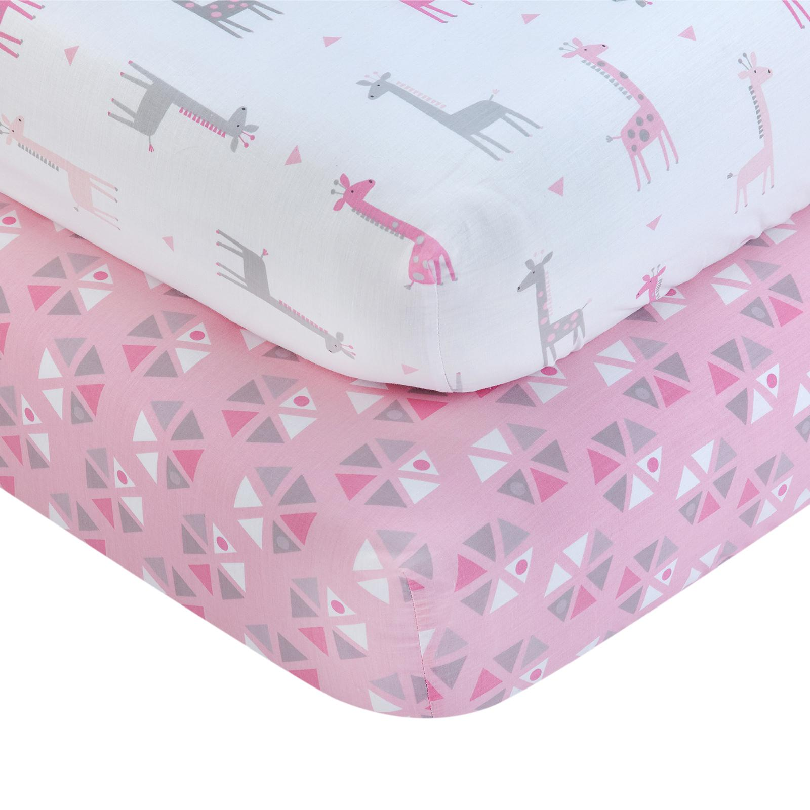 Little Love by Nojo Giraffe Time Pink Fitted Crib Sheet -...