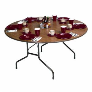 Correll Round Melamine Folding Table - Brown