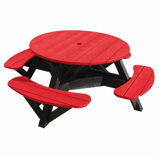 C.R. Plastic Generations 51 in. Round Recycled Plastic Picnic Table - Black Frame