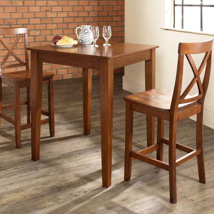 Winsome Trading Kingsgate 3 Piece Dining Table Set with Bar VBack