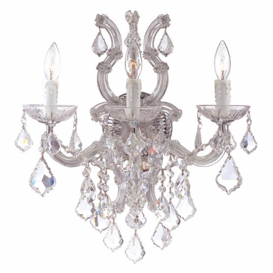 Crystorama 4433-CH-CL-S Maria Theresa Swarovski Elements Sconce - 17W in.