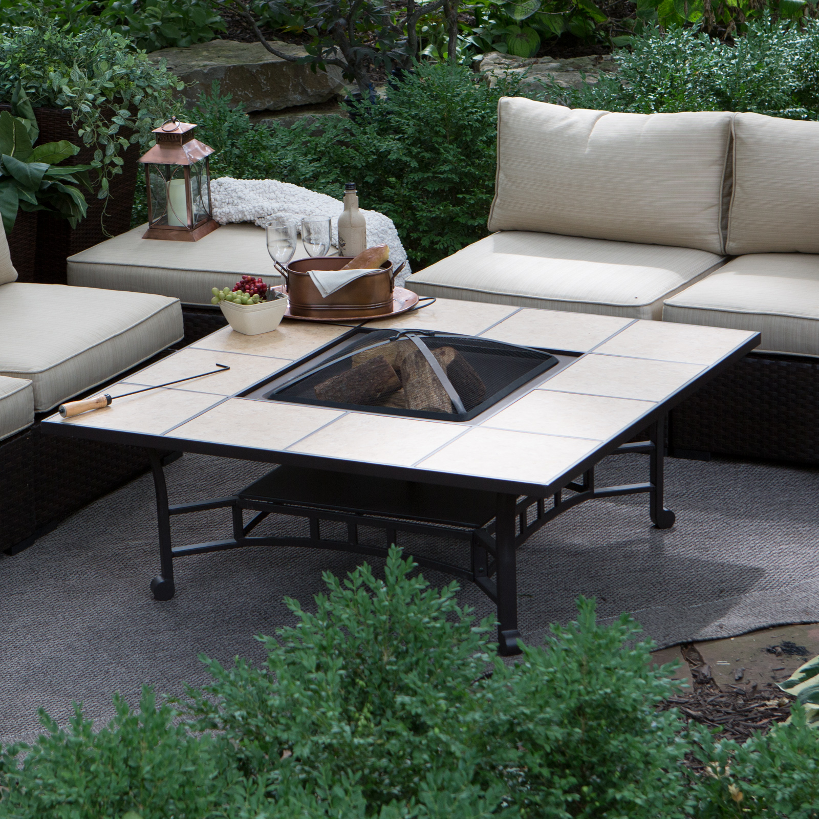 Outdoor Square Tile Convertible Fire Pit Table Cover