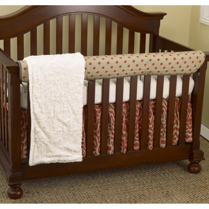 Cotton Tale Raspberry Dot 4-piece Crib Bedding Set (Raspberry Front Crib Rail Cover Up Set), Blue