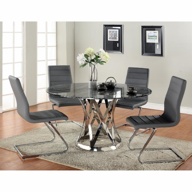 Chintaly Janet 5 Piece Dining Table Set with Marble Top -...