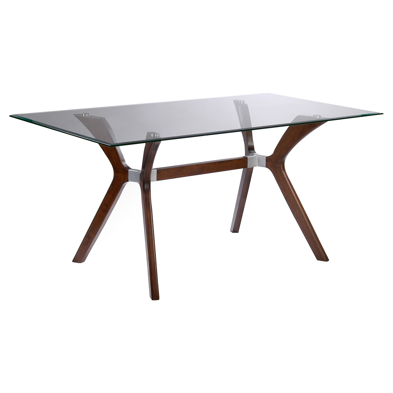 Chintaly Luisa Rectangular Dining Table with Glass Top ...