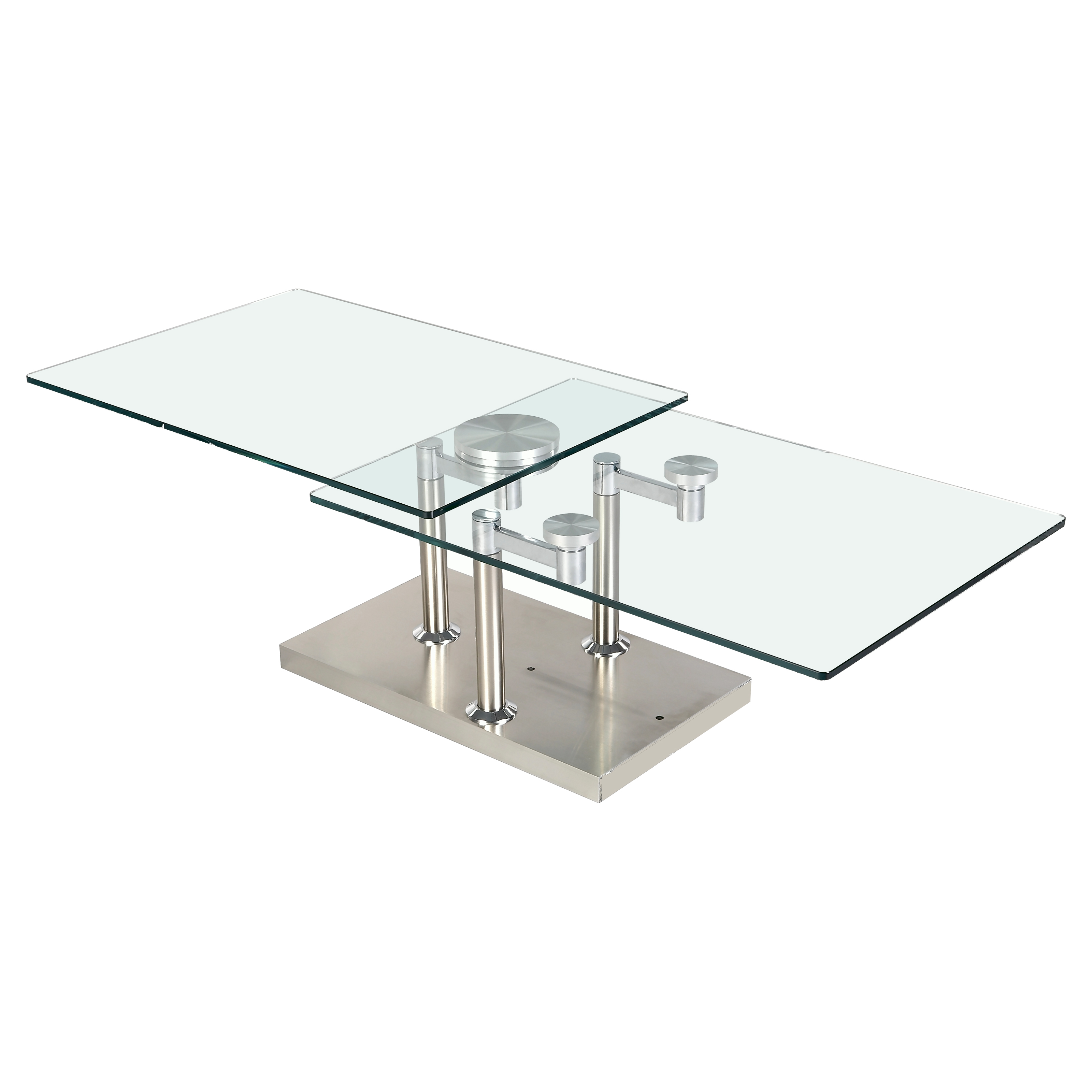 3 Way Motion Glass Square Coffee Table