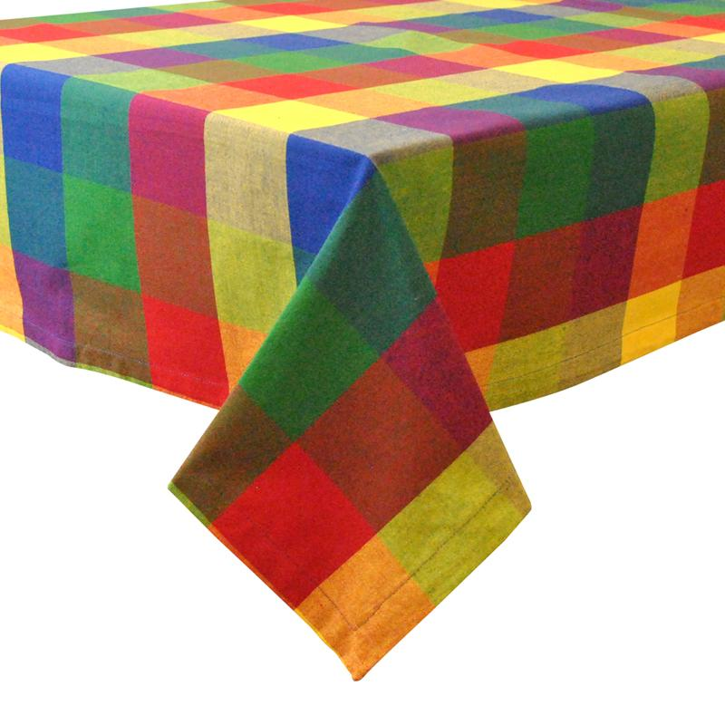 Design Imports Palette Check Indian Summer Tablecloth - 3...