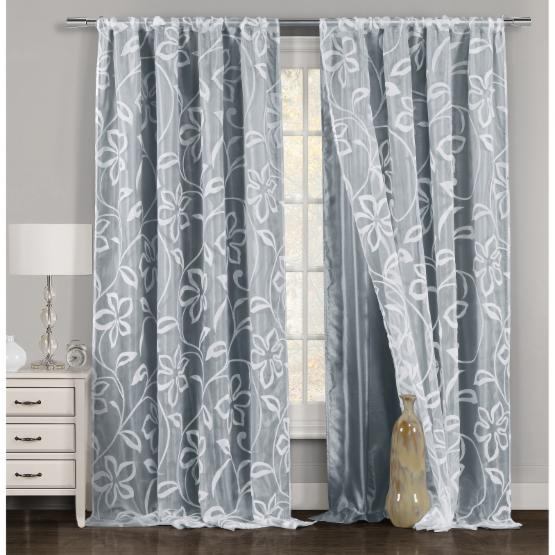 Duck River Pennie Flocked Pole Top Curtain Panel