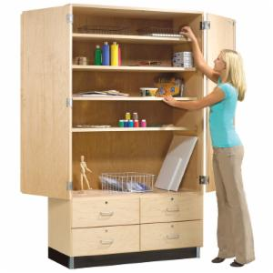 Diversified Woodcrafts Double Door Storage Cabinet with Drawers