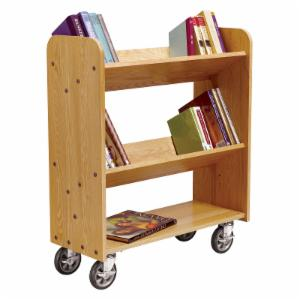Diversified Woodcrafts Book Truck with 2 Sloped and 1 Standard Shelves