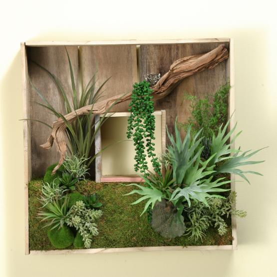 D&W Silks Square Wooden Shadow Box with Ghostwood Branch and Mixed Succulents