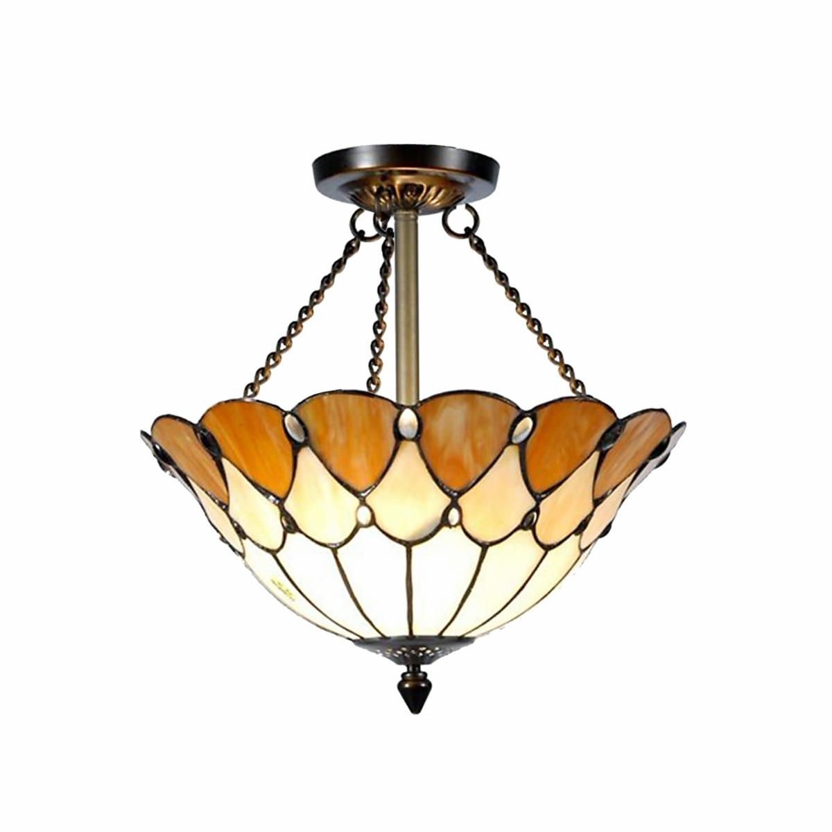 Dale Tiffany Scalloped Jeweled Flush Mount   14 watt in. Antique Bronze Paint   Tiffany Ceiling Lighting