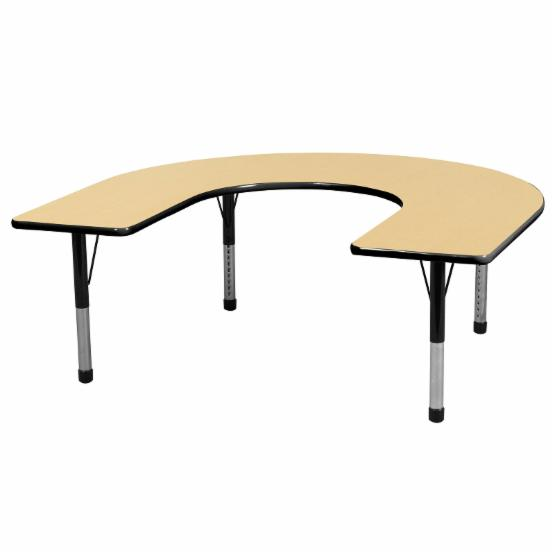 ECR4KIDS 60 x 66 in. Horseshoe Adjustable Activity Table - Chunky Legs