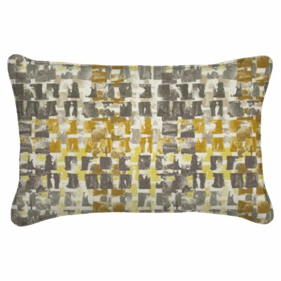 Easy Way 18 x 12 in. Brushed Gold Print Single Piped Edge Lumbar Polyester Outdoor Pillow