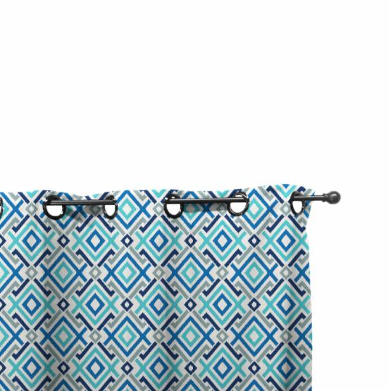 Easy Way Aquatic Print Polyester Outdoor Drape with Grommet Top