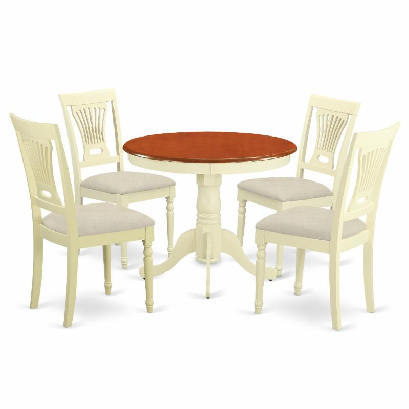 East West Furniture Antique 5 Piece Pedestal Round Dining...