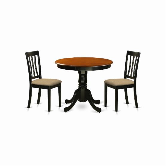 East West Furniture Antique 3 Piece Pedestal Round Dining Table Set with Microfiber Seat