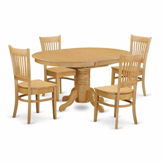 East West Furniture Avon 5 Piece Pedestal Oval Dining Table Set with Vancouver Wooden Seat Chairs