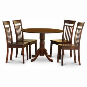 East West Furniture Dublin 5 Piece Drop Leaf Dining Table Set with Capri Wooden Seat Chairs