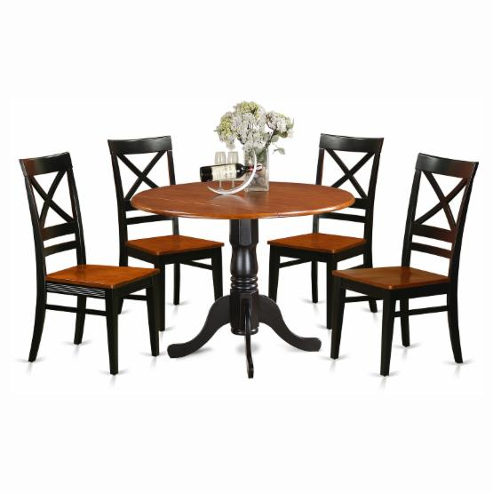 East West Furniture Dublin 5 Piece Drop Leaf Dining Table Set with Quincy Wooden Seat Chairs