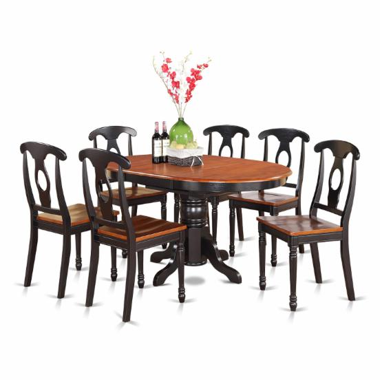 East West Furniture Avon 7 Piece Oval Pedestal Dining Table Set with Kenley Napoleon Chairs
