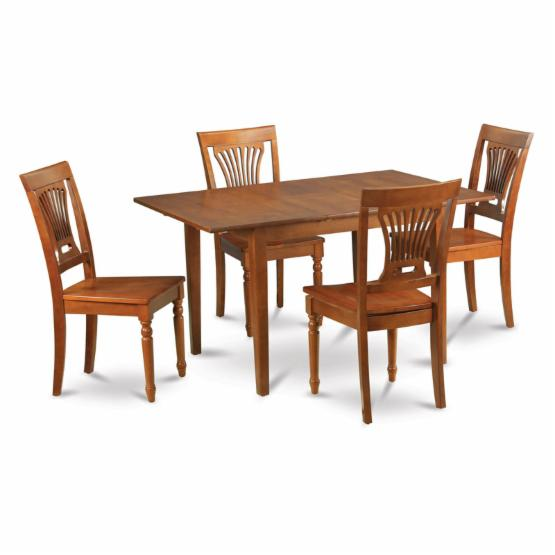 East West Furniture Milan 5 Piece Rectangular Dining Table Set with Plainville Chairs