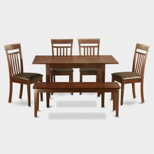 East West Furniture Norfolk 6 Piece Sheraton Dining Table Set