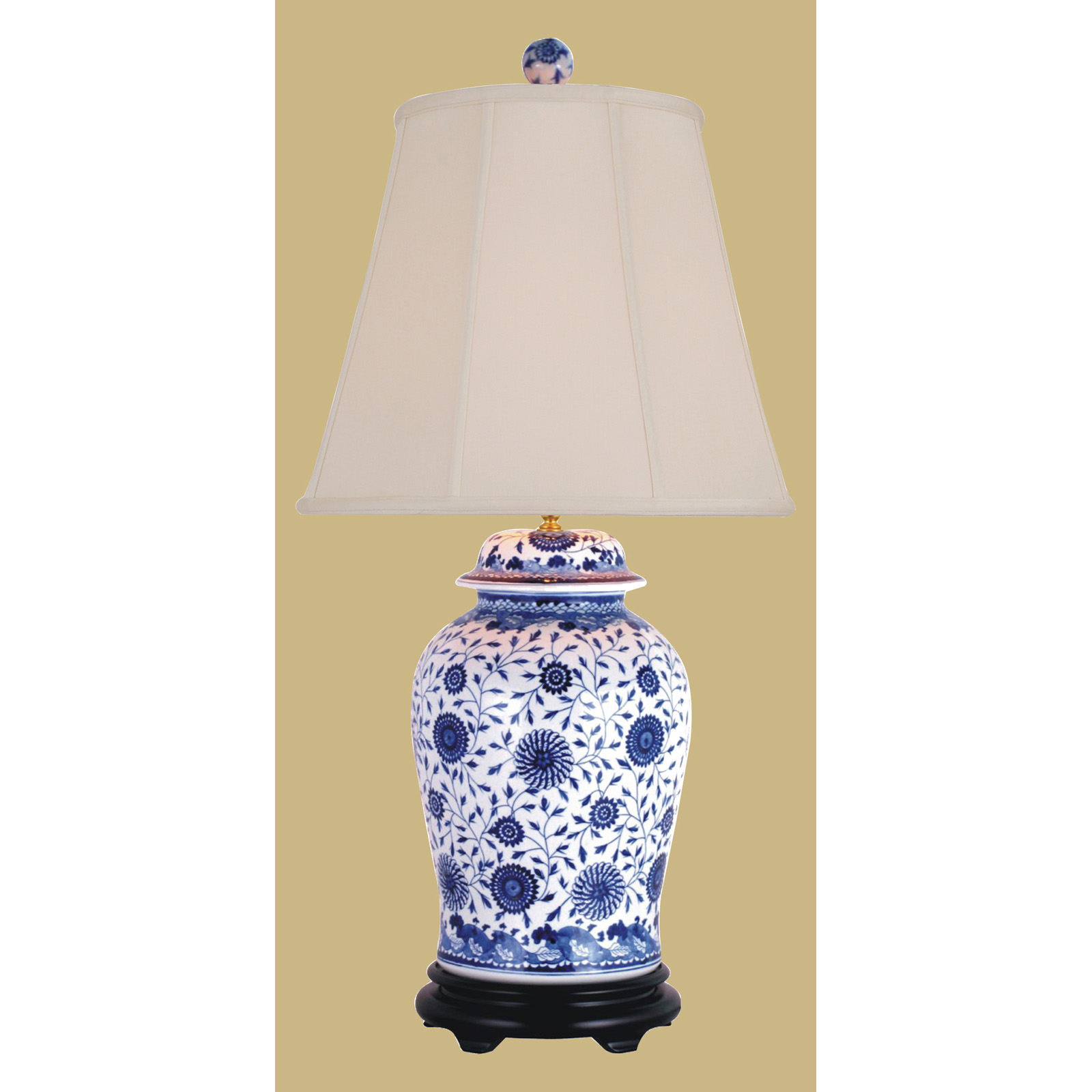 Attractive East LPDBJH0819A Temple Jar Table Lamp   Blue And White  .