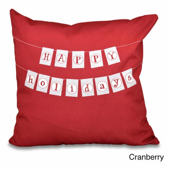 E by Design A Way With Words Happy Holidays Banner Print outdoor Pillow