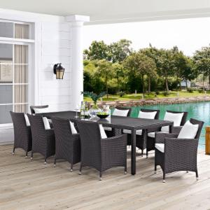 Modway Convene Wicker 11 Piece Rectangular Patio Dining Set with Cushion