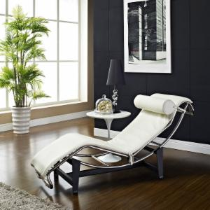 Modway LC4 Leather Chaise - White