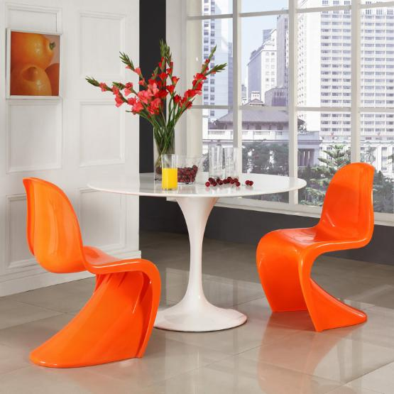 Modway Lippa 5-Piece Dining Table Set with Slither Orange Chairs