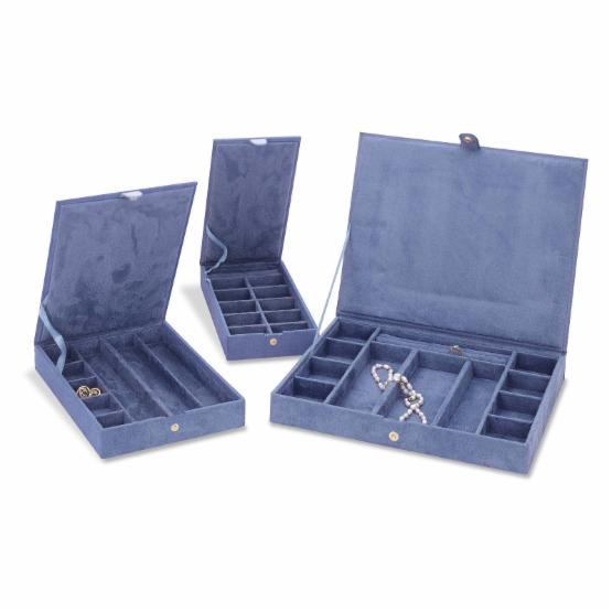 Reed & Barton Stackable Faux Suede Jewelry Cases - Set of 3 - 4.6W x 1.5H in.