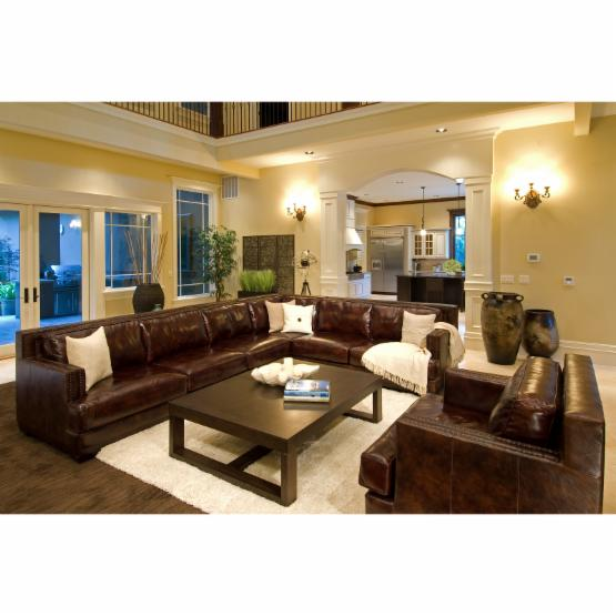Easton Top Grain Leather Sectional (Left Arm Facing Sofa, Right Arm Facing Loveseat, Corner Seat) with Standard Chair in Saddle