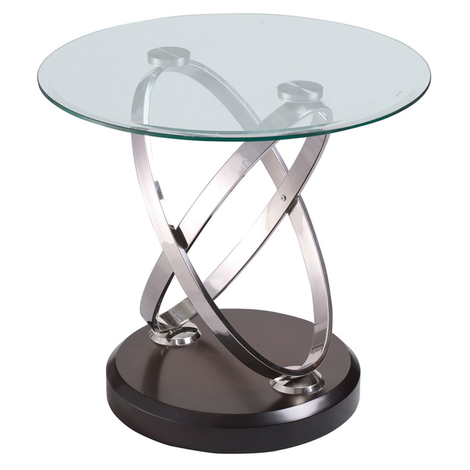 Magnussen Modesto Metal and Glass Round End Table End