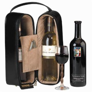 Black Double Wine Travel Case with Optional Monogramming