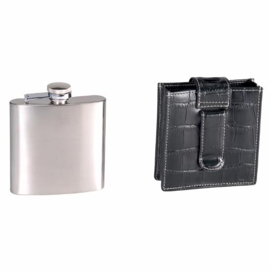 Royce Leather Black Croco 5 oz. Flask with Optional Monogramming