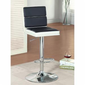 Furniture of America Geminette Faux Leather Bar Stool - Black and White