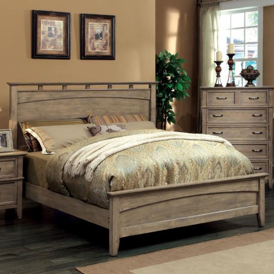 Furniture of America Shunner Pike Low Profile Bed - Weathered Oak