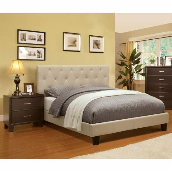 Wendy Made Button Tufted 3-Piece Platform Bed Collection with Two Nightstands - Ivory