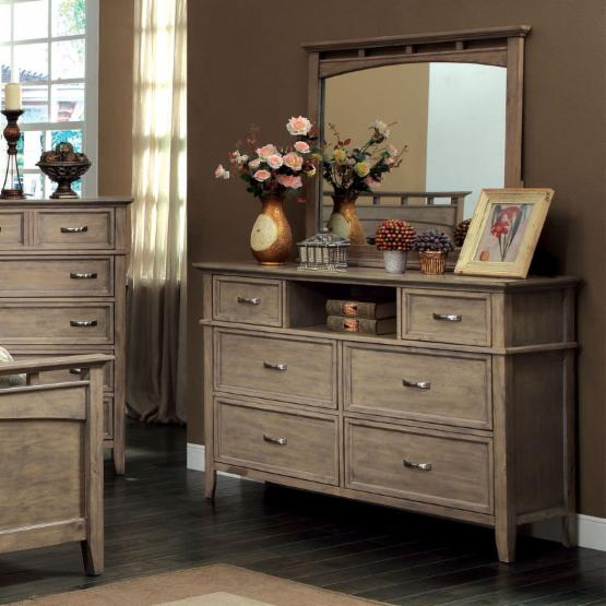 Furniture of America Tarpa Collection 6 Drawer Dresser - Weathered Oak
